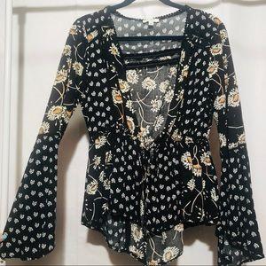 Umgee boho tie front floral black small kimono